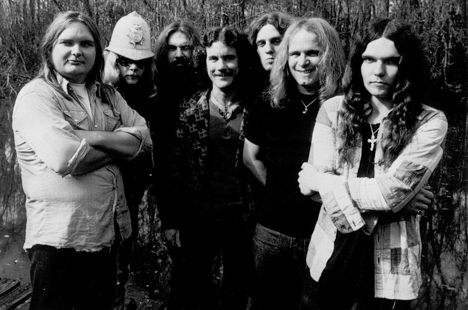 Lynyrd Skynyrd (L-R Ed King, Leon Wilkeson, Artimus Pyle, Billy Powell, Allen Collins, Ronnie Van Zandt and Gary Rossington pose for a portrait in January 1975.