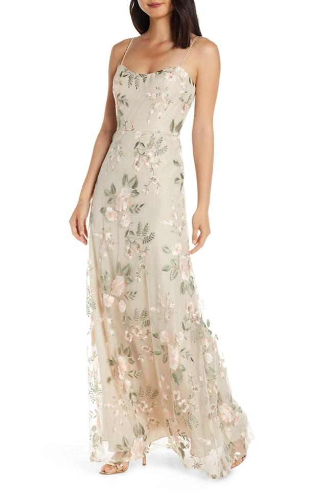 """<p>Try a printed choice with this <a href=""""https://www.popsugar.com/buy/Jenny-Yoo-Drew-Floral-Embroidered-Tulle-Evening-Dress-488462?p_name=Jenny%20Yoo%20Drew%20Floral%20Embroidered%20Tulle%20Evening%20Dress&retailer=shop.nordstrom.com&pid=488462&price=325&evar1=fab%3Aus&evar9=45750159&evar98=https%3A%2F%2Fwww.popsugar.com%2Fphoto-gallery%2F45750159%2Fimage%2F46586745%2FJenny-Yoo-Drew-Floral-Embroidered-Tulle-Evening-Dress&list1=shopping%2Cwedding%2Cdresses%2Cbridesmaids%2Cbridesmaid%20dresses%2Cwedding%20guest%20dresses&prop13=api&pdata=1"""" rel=""""nofollow"""" data-shoppable-link=""""1"""" target=""""_blank"""" class=""""ga-track"""" data-ga-category=""""Related"""" data-ga-label=""""https://shop.nordstrom.com/s/jenny-yoo-drew-floral-embroidered-tulle-evening-dress/5206126?origin=category-personalizedsort&amp;breadcrumb=Home%2FWomen%2FThe%20Wedding%20Suite%2FBridesmaid%20Dresses&amp;color=berry%20vintage%20iris"""" data-ga-action=""""In-Line Links"""">Jenny Yoo Drew Floral Embroidered Tulle Evening Dress </a> ($325).</p>"""