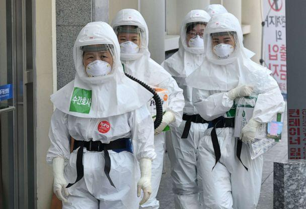 PHOTO: Nurses wearing protective gear arrive for their shift to care for patients infected with the novel coronavirus at Keimyung University Dongsan Hospital in Daegu, South Korea, on April 29, 2020. (Jung Yeon-je/AFP via Getty Images)