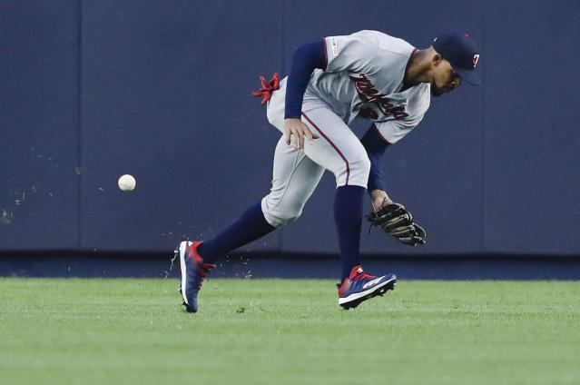 Minnesota Twins center fielder Byron Buxton misjudges a ball hit by New York Yankees' Brett Gardner during the first inning of a baseball game Friday, May 3, 2019, in New York. Buxton was charged with an error, and Gardner reached third. (AP Photo/Frank Franklin II)