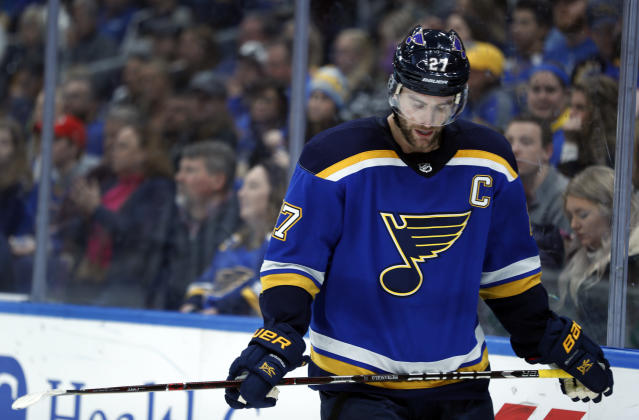 St. Louis Blues' Alex Pietrangelo looks down during a break in the action late in the third period of an NHL hockey game against the Los Angeles Kings Monday, Nov. 19, 2018, in St. Louis. The Kings won 2-0.(AP Photo/Jeff Roberson)