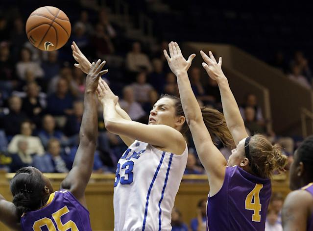 Duke's Haley Peters, center, passes as Albany's Shereesha Richards, left, and Sarah Royals (4) defend during the first half of an NCAA college basketball game in Durham, N.C., Thursday, Dec. 19, 2013. (AP Photo/Gerry Broome)