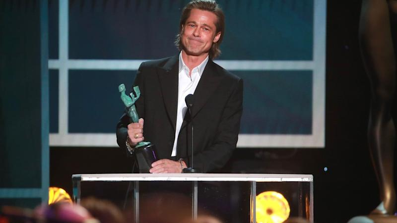 Brad Pitt Jokes About His Tinder Profile in SAG Awards Acceptance Speech and Twitter Has Questions
