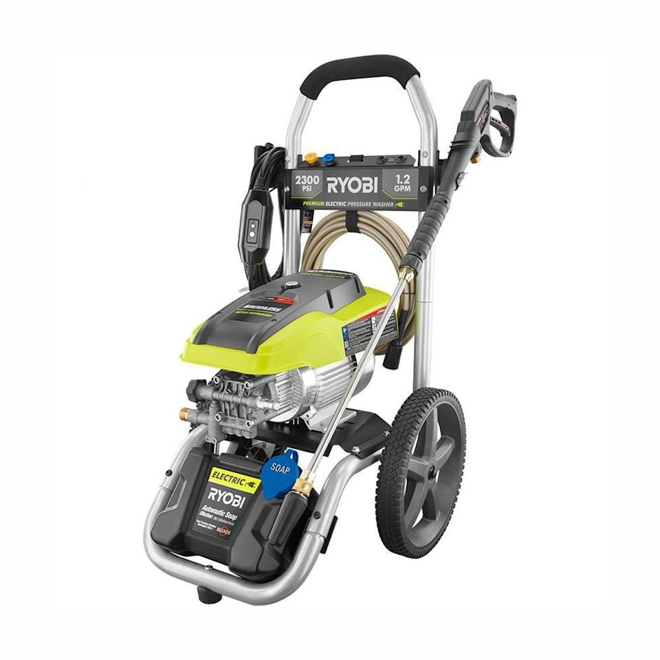 """<p><strong>RYOBI</strong></p><p>homedepot.com</p><p><strong>$279.00</strong></p><p><a href=""""https://go.redirectingat.com?id=74968X1596630&url=https%3A%2F%2Fwww.homedepot.com%2Fp%2FRYOBI-2-300-PSI-1-2-GPM-High-Performance-Electric-Pressure-Washer-RY142300%2F300405751&sref=https%3A%2F%2Fwww.goodhousekeeping.com%2Fhome%2Fcleaning%2Fg33460230%2Fbest-pressure-washers%2F"""" rel=""""nofollow noopener"""" target=""""_blank"""" data-ylk=""""slk:SHOP NOW"""" class=""""link rapid-noclick-resp"""">SHOP NOW</a></p><p>Our top pick wins praise from nearly anyone who gets their hands on it. The Home Depot best-seller has <strong>a </strong><strong>truly impressive PSI (2,300!) for an electric machine</strong>, making it a great choice for residential users who want to be able to tackle a wide range of projects. The machine also comes with a bonus turbo nozzle that claims to deliver up to 5% more cleaning power for tougher jobs, like oil-stained driveways or severely mildewed fencing. </p>"""