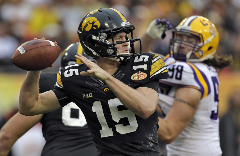 Iowa quarterback Jake Rudock (15) throws a pass despite pressure from LSU defensive end Jordan Allen (98) during the second quarter of the Outback Bowl NCAA college football game Wednesday, Jan. 1, 2014, in Tampa, Fla. (AP Photo/Chris O'Meara)