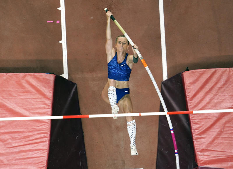 Anzhelika Sidorova, participating as a neutral athlete, competes in the women's pole vault final at the World Athletics Championships in Doha, Qatar, Sunday, Sept. 29, 2019. Sidorova won the gold medal in the event. (AP Photo/Nick Didlick)
