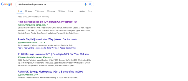 Investment products advertised alongside search results for savings products. Photo: Screenshot/Yahoo Finance UK