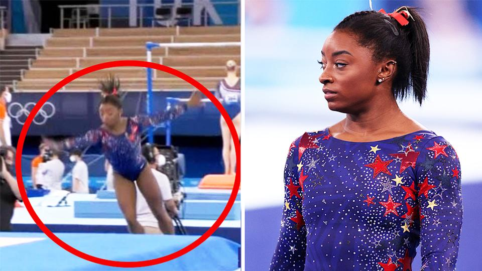 Simone Biles (pictured left) slips out of bounds during her floor routine at the Tokyo Olympics and Biles (pictured right) looking frustrated after the routine