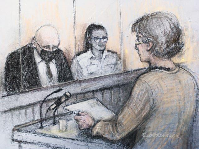Court artist sketch by Elizabeth Cook of Susan Everard (right), the mother of Sarah Everard, reading a victim impact statement as former Metropolitan Police officer Wayne Couzens (left), 48, sits in the dock (Elizabeth Cook/PA)