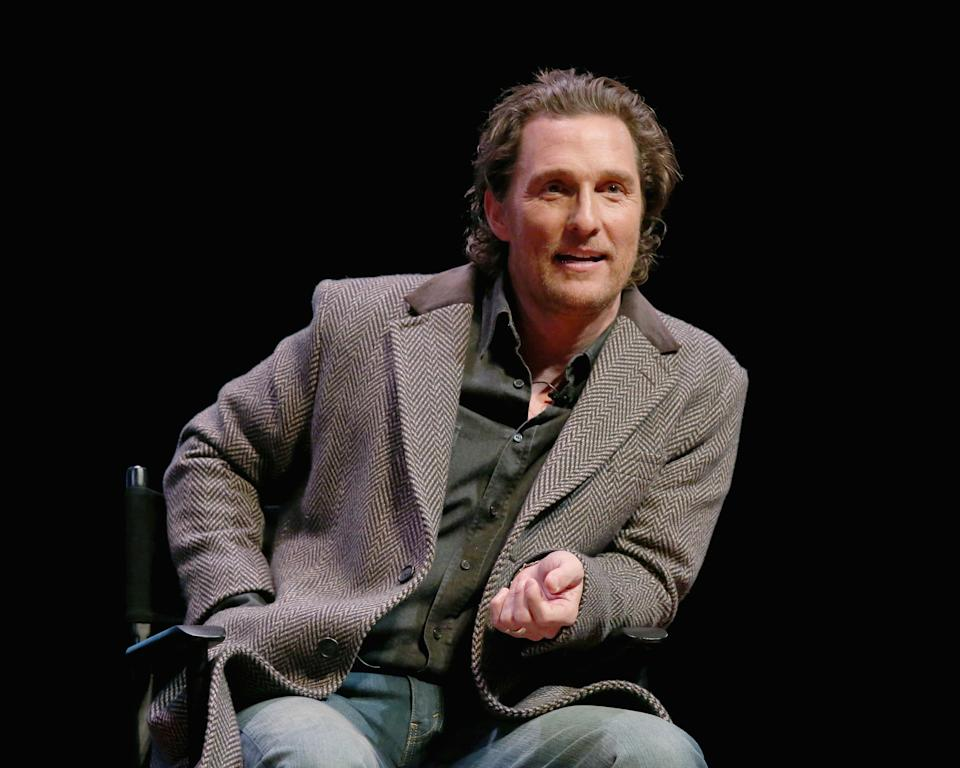 Matthew McConaughey (pictured in January) got vocal about politics in a conversation with Russell Brand. (Photo: Gary Miller/Getty Images)