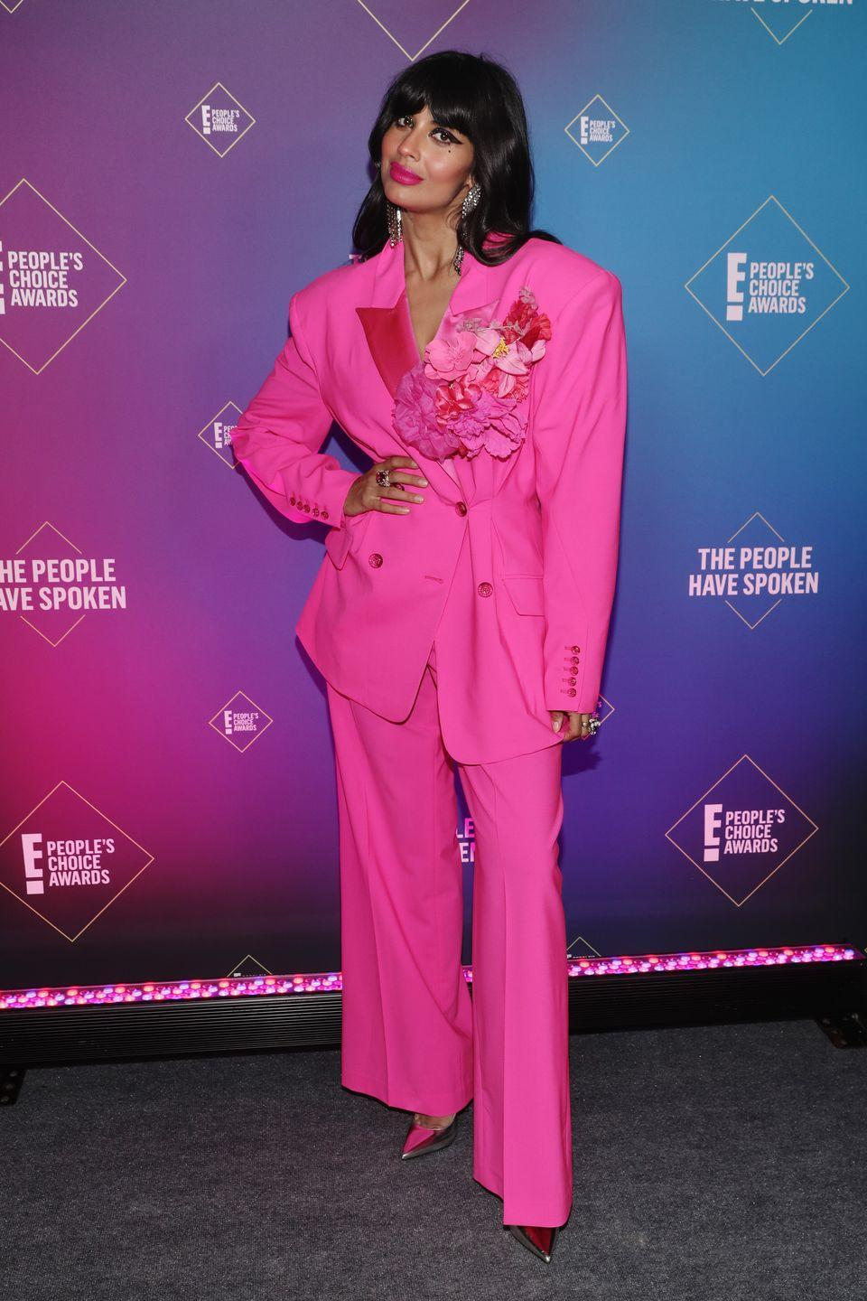 <p>Another actress to choose tailoring on the night was Jameela Jamil who wore an oversized bright pink blazer and trousers by Christopher John Rogers, complete with an enormous flower detail.</p>