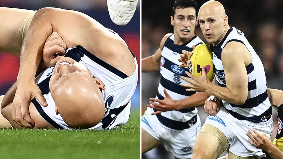 Gary Ablett, pictured here back onto the field after suffering a nasty injury in the AFL grand final.