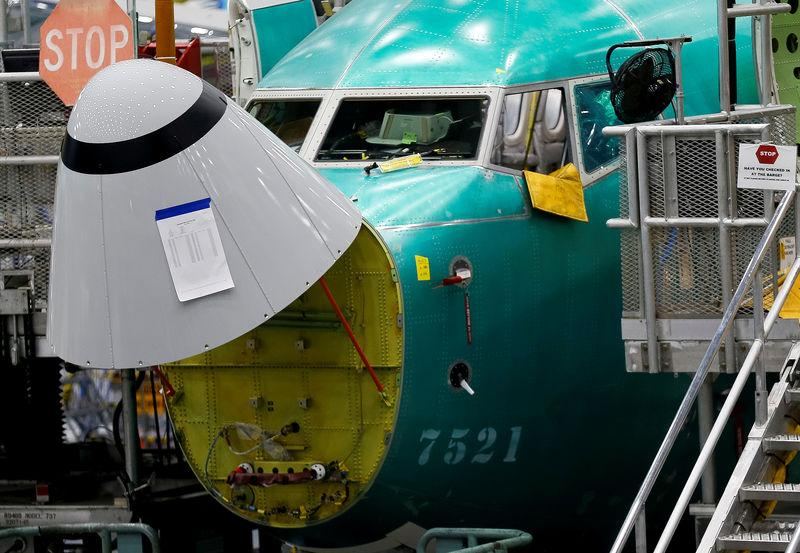 The angle of attack sensor is seen on a 737 Max aircraft at the Boeing factory in Renton