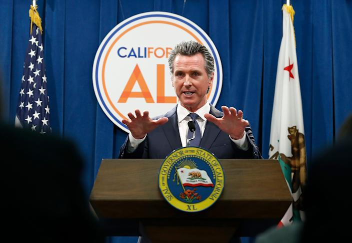 Gov. Gavin Newsom discusses his revised 2019-2020 state budget during a news conference in Sacramento on May 9, 2019.