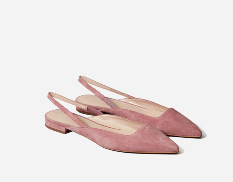 The Editor Slingback in Rosewood Suede. Image via Everlane.