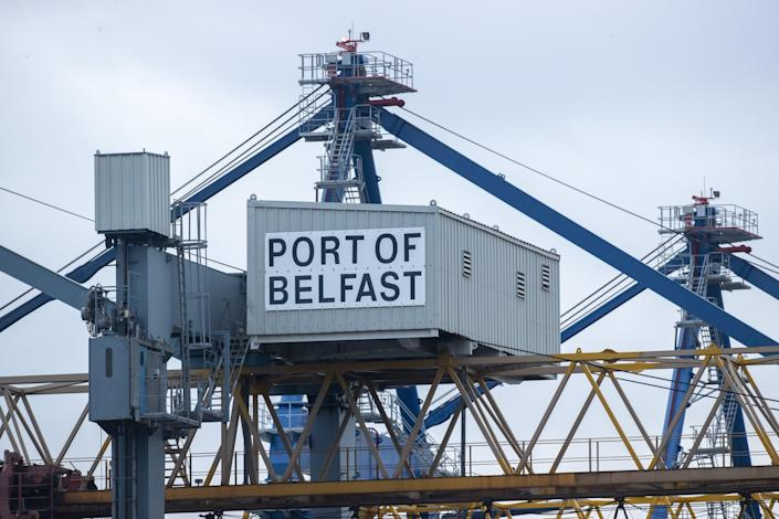 A Port of Belfast sign at Belfast Harbour (PA Wire)