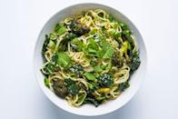 """Roasting broccoli at high heat with grated garlic, sambal oelek, and vinegar allows it to take on some char and an entirely new flavor. We can't think of a better addition to these sesame noodles. <a href=""""https://www.epicurious.com/recipes/food/views/cold-sesame-noodles-with-broccoli-and-kale?mbid=synd_yahoo_rss"""" rel=""""nofollow noopener"""" target=""""_blank"""" data-ylk=""""slk:See recipe."""" class=""""link rapid-noclick-resp"""">See recipe.</a>"""