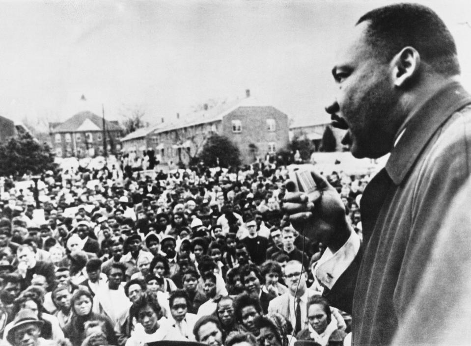 Dr. Martin Luther King addressing civil rights marchers in Selma, Ala., in April 1965. (Photo: Keystone/Getty Images)