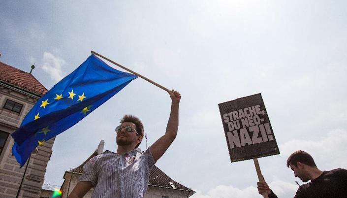 Over the weekend thousands demonstrated in Vienna against the government after the scandal broke (AFP Photo/ALEX HALADA)