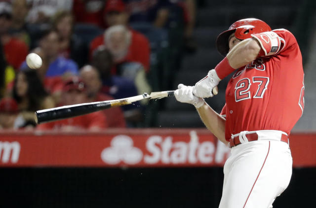 Los Angeles Angels' Mike Trout breaks his bat and flies out against the Cleveland Indians during the first inning of a baseball game in Anaheim, Calif., Wednesday, Sept. 20, 2017. (AP Photo/Chris Carlson)