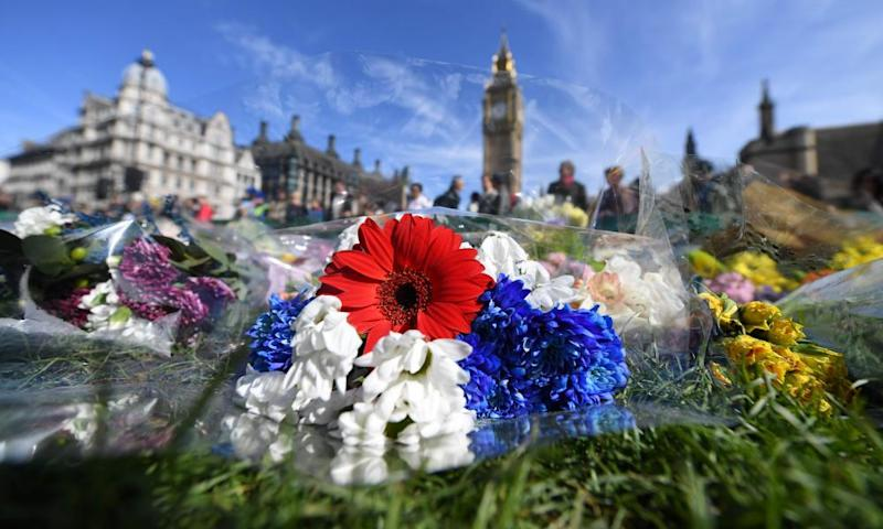 Floral tributes left near parliament in honour of the victims of the London attack.