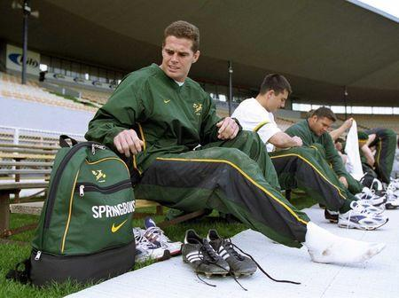 FILE PHOTO - South Africa's loose forward Rassie Erasmus prepares for their final training session at Jade Stadium July 21 before their Tri Nations test against the New Zealand All Blacks in Christchurch on Saturday. SB/PB