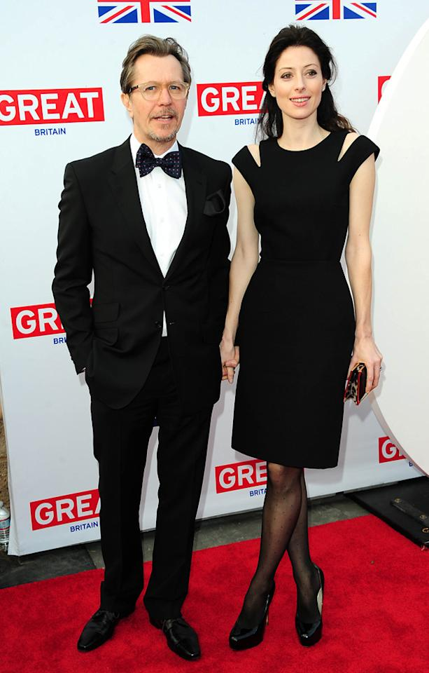 Oscars 2012 Pre Party: Nominee Gary Oldman and his wife Alexandra Edenborough attended the Great British Film Reception to honour the British Nominees of the 2012 Oscars.