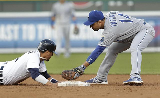 Detroit Tigers Victor Martinez, left, dives back into second base under the tag of Kansas City Royals second baseman Omar Infante, right, on Torii Hunter single in the fourth inning of a baseball game in Detroit, Monday, June 16, 2014. (AP Photo/Paul Sancya)