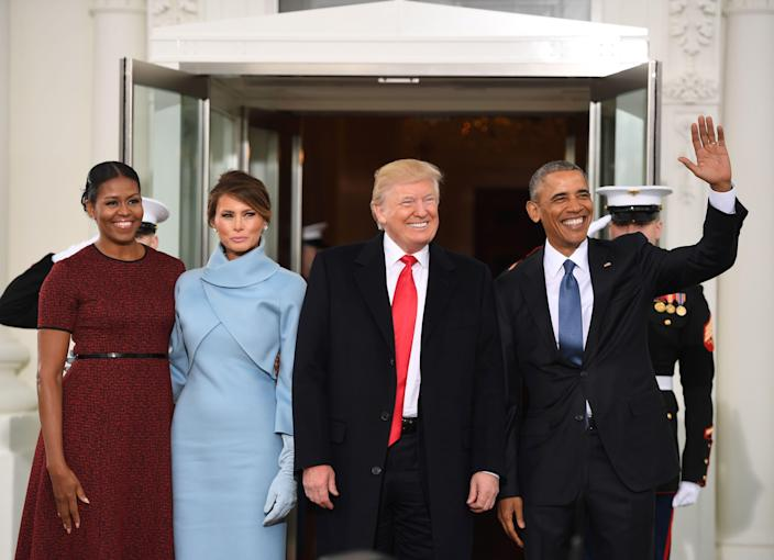 The Obamas greeted the Trumps at the White House and rode together to the swearing-in ceremony. The Obama administration prepared copious briefing materials to ease the transition—which Mr Trump reportedly ignored.AFP via Getty Images