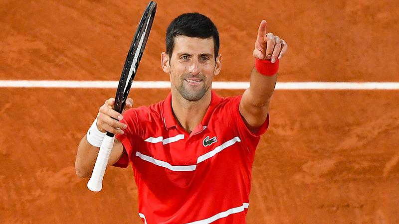 Novak Djokovic, pictured here after beating Stefanos Tsitsipas in the French Open semi-finals.