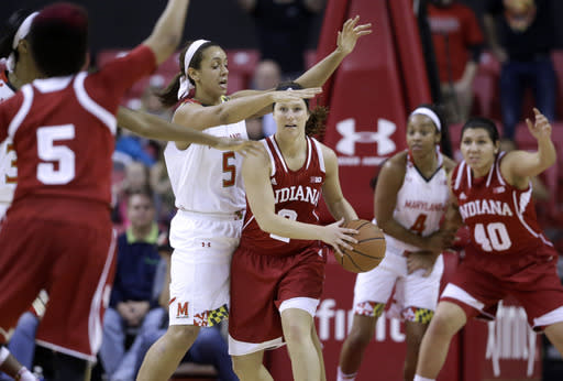 Indiana guard Jess Walter, center, looks for an open teammate as she is pressured by Maryland center Malina Howard (5) in the second half of an NCAA college basketball game, Thursday, Feb. 26, 2015, in College Park, Md. Maryland won 83-72. (AP Photo/Patrick Semansky)