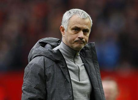 Manchester United manager Jose Mourinho looks dejected after the game