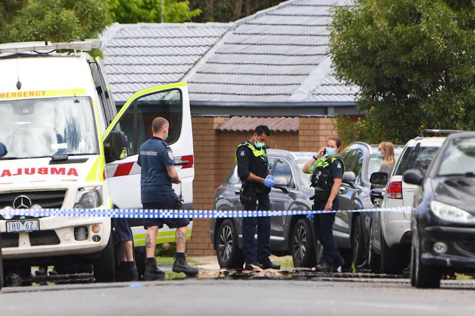 Police work at a crime scene in Tullamarine. Source: AAP