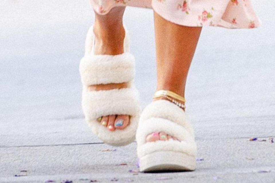A closer view of Rita Ora's sandals. - Credit: Courtesy of Ugg