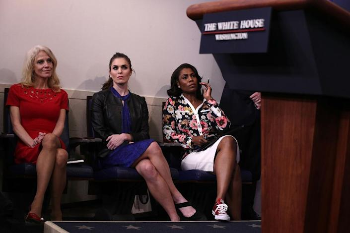<span>The White House staffer Kellyanne Conway and former aides Hope Hicks and Omarosa Manigault Newman at a press briefing last year.</span> <span>Photograph: Alex Wong/Getty Images</span>