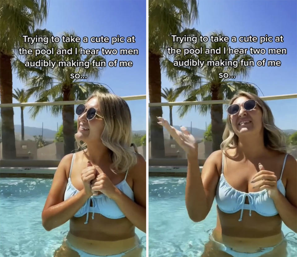 A TikTok user has been praised for the way she handled two men who were laughing at her while she posed for a bikini snap. Photo: TikTok/samanthalongton