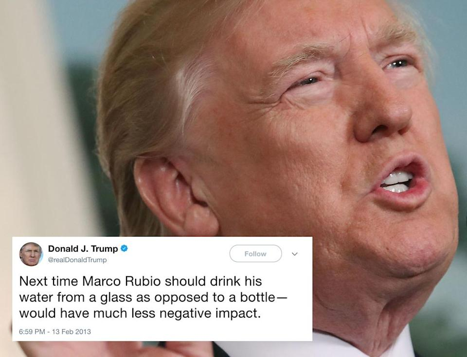 "<p>In 2013, Trump criticised Republican politician Marco Rubio (his one-time GOP rival) for drinking from a bottle during a speech. 'When they put Marco on to refute President Obama's speech, do you remember that catastrophe?' Trump then asked a campaign crowd in Fort Worth, Texas, in February 2016. He mocked Rubio, saying, 'He's like this: '"" need water. Help me, I need water,""' Trump said, pretending to stagger on stage.<br> Recently, during his Asia tour, Trump stopped twice to take a drink from a bottle during his speech. (Getty) </p>"