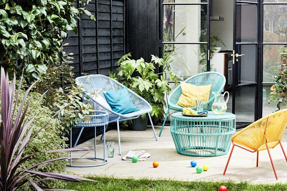 """<p>'Anything goes in this trend, and bright pops of colour can be mixed and matched to create an eclectic, modern outdoor space,' explain the team at John Lewis. </p><p>'This range lends itself well to smaller outdoor spaces such as patio gardens and balconies, and the introduction of the new Bistro Set is a great addition to the range.'</p><p><a class=""""link rapid-noclick-resp"""" href=""""https://go.redirectingat.com?id=127X1599956&url=https%3A%2F%2Fwww.johnlewis.com%2Fjohn-lewis-partners-salsa-2-seater-round-garden-bistro-table-chairs-set-agave%2Fp5301961&sref=https%3A%2F%2Fwww.redonline.co.uk%2Finteriors%2Fhomeware%2Fg36003381%2Fjohn-lewis-garden-collection-spring-summer%2F"""" rel=""""nofollow noopener"""" target=""""_blank"""" data-ylk=""""slk:SHOP NOW"""">SHOP NOW</a> <strong><br></strong><br><br></p>"""