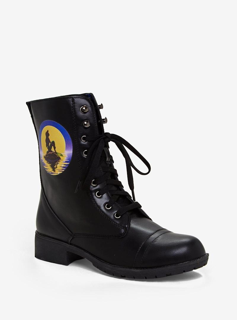 The Little Mermaid Ariel Silhouette Combat Boots (Photo: Hot Topic)