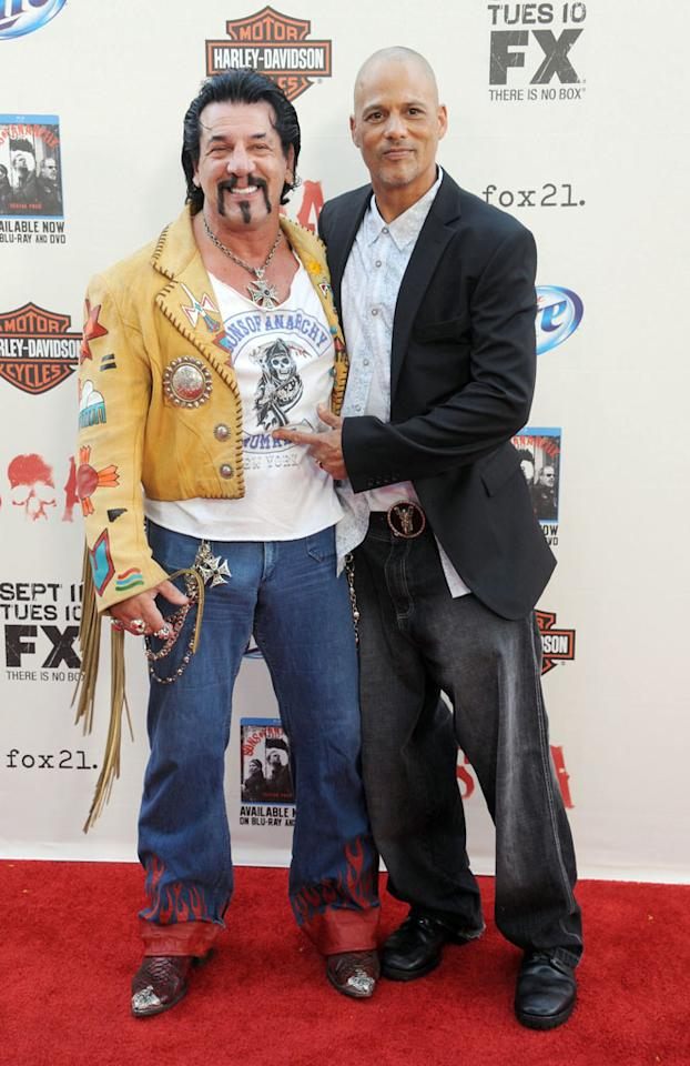 """Chuck Zito and David Labrava attend the """"Sons of Anarchy"""" Season 5 premiere screening at Westwood Village on September 8, 2012 in Los Angeles, California."""