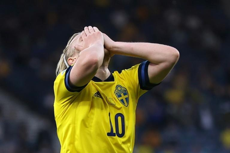 Denied: Emil Forsberg hit the woodwork twice for Sweden in the second-half