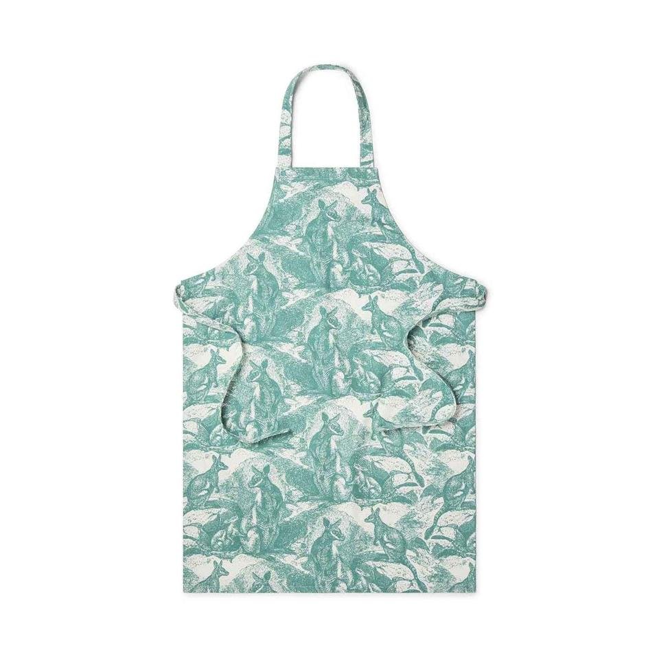 """<p>utopiagoods.com</p><p><strong>$69.00</strong></p><p><a href=""""https://usa.utopiagoods.com/products/wallaby-green-apron?_pos=3&_sid=8158c333d&_ss=r"""" rel=""""nofollow noopener"""" target=""""_blank"""" data-ylk=""""slk:Shop Now"""" class=""""link rapid-noclick-resp"""">Shop Now</a></p><p><a href=""""https://utopiagoods.com/"""" rel=""""nofollow noopener"""" target=""""_blank"""" data-ylk=""""slk:Utopia Goods"""" class=""""link rapid-noclick-resp"""">Utopia Goods</a> has just launched its very first quarterly initiative, #GIMMEFIVE, starting with the Wallaby Cotton Capsule, that will donate $5,000 of sales to the Wildlife Recovery Fund. This will go to helping regenerate bushland in Australia, including habitats for many species like the Tammar Wallaby that were destroyed by the recent fires. The design is also used on tablecloths, tea towels, totes, and placemats.<br></p>"""