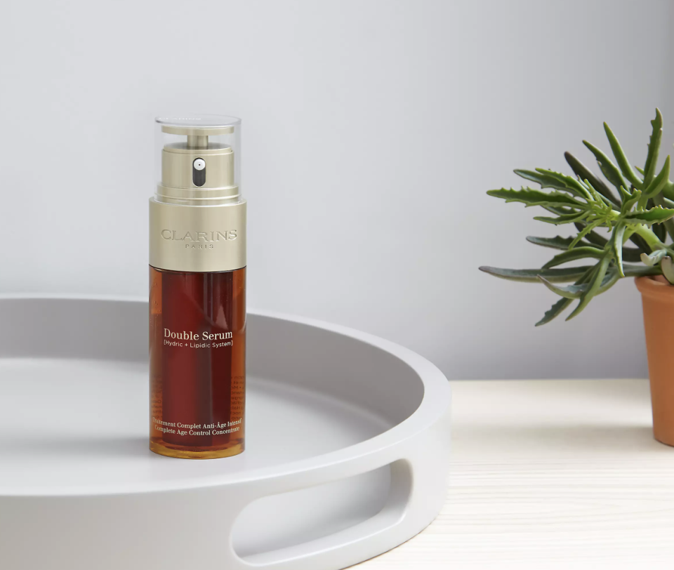 """<a href=""""https://fave.co/3yqWh2Z"""" rel=""""nofollow noopener"""" target=""""_blank"""" data-ylk=""""slk:Clarins Double Serum"""" class=""""link rapid-noclick-resp"""">Clarins Double Serum</a>. (Clarins/ John Lewis)"""