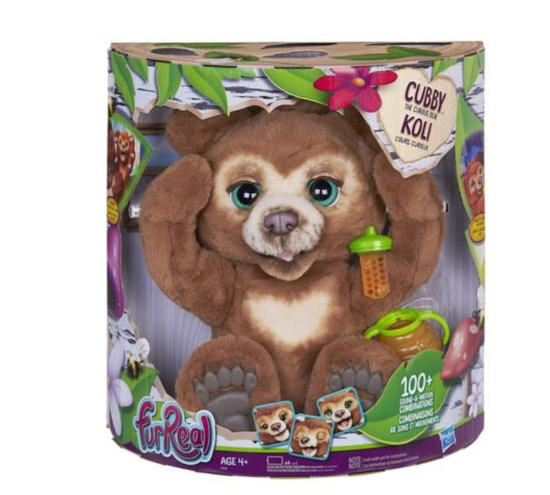"Cubby is a curious young cub, and is eager to be picked up and held.&nbsp;<strong>Ages:</strong> 4+&nbsp;<strong>Get it at:</strong> <a href=""https://www.walmart.ca/en/ip/furreal-cubby-the-curious-bear-interactive-plush-toy-ages-4-and-up/6000199877183"" target=""_blank"" rel=""noopener noreferrer"">Walmart</a>, $129.97"