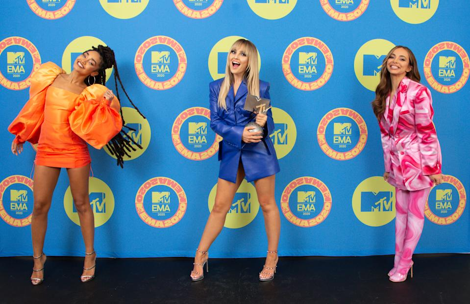 Leigh-Anne Pinnock, Perrie Edwards and Jade Thirlwall of Little Mix pose ahead of the MTV EMA's 2020 on November 01, 2020 in London, England. The MTV EMA's aired on November 08, 2020. (Photo by Callum Mills via Getty Images for MTV)