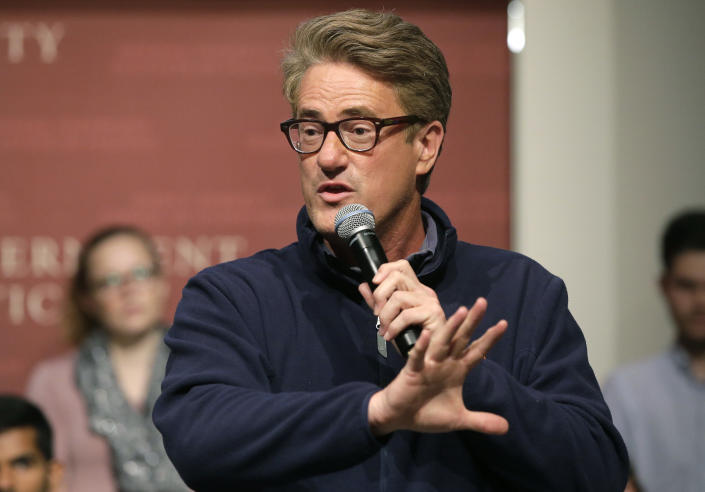 "MSNBC television anchor Joe Scarborough, co-hosts of the show ""Morning Joe,"" takes questions from an audience in 2017. (Steven Senne/AP)"