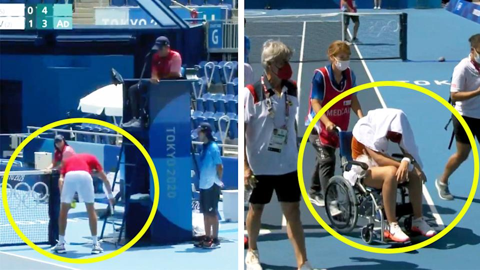 Paula Badosa (pictured right) wheeled off the court after feeling ill at the Tokyo Olympics and (pictured left) Daniil Medvedev arguing with the chair umpire over the heat.