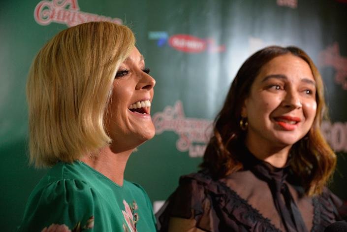 LOS ANGELES, CA - NOVEMBER 24: Actors Jane Krakowski and Maya Rudolph attend FOX's 'A Christmas Story Live!' Lighting Event featuring the leg lamp at The Grove on November 24, 2017 in Los Angeles, California. (Photo by Michael Tullberg/Getty Images)