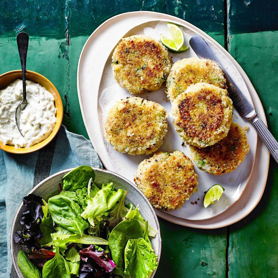 """<p>These salmon and prawn fishcakes are zesty and fragrant in equal measure. You could swap the salmon for another meaty fish such as cod.</p><p><strong>Recipe: <a href=""""https://www.goodhousekeeping.com/uk/food/recipes/a35415980/lime-coriander-fish-cakes/"""" rel=""""nofollow noopener"""" target=""""_blank"""" data-ylk=""""slk:Lime and Coriander Fish Cakes"""" class=""""link rapid-noclick-resp"""">Lime and Coriander Fish Cakes</a></strong></p>"""