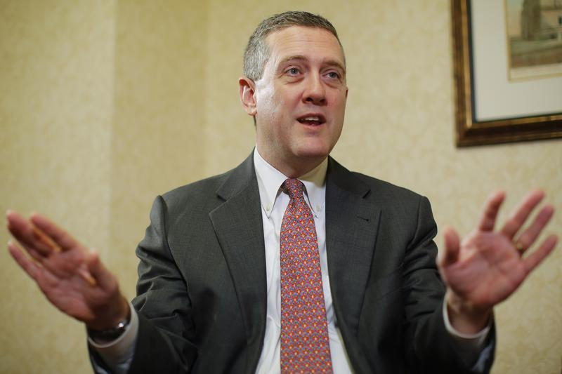 James Bullard, President of the St. Louis Federal Reserve Bank, speaks during an interview with Reuters in Boston